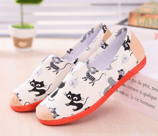 Flat shoes female floral printed pink shoes zapatos de mujer