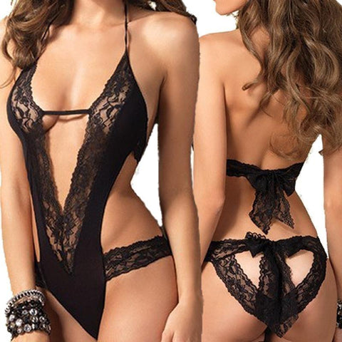 Black Lace Spliced Lingerie