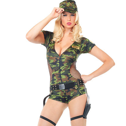 Sexy Camouflage Zipper Halloween Costume