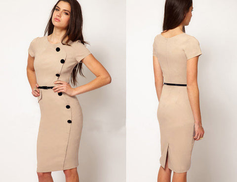 Casual O-Neck Bodycon Knee-Length Dress no Belt