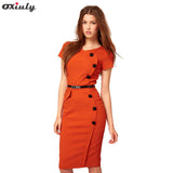 Oxiuly Women Plus Size 3XL Summer Short Sleeve Button Cotton Blend Empire Casual  Stretch Bodycon Knee-Length Pencil Dress