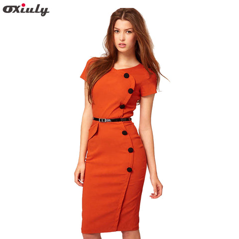 Buy Oxiuly Women Plus Size 3XL Summer Short Sleeve Button Cotton Blend  Empire Casual Stretch Bodycon Knee-Length Pencil Dress at Marks Urban Wear®  for ...