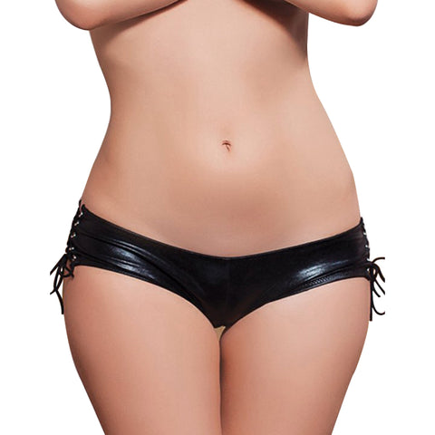 Black Faux Leather Panty