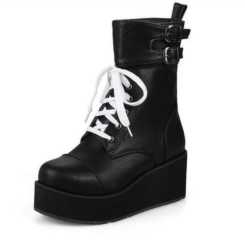 Creepers Wedge High Heels Martin Boots Lace Up