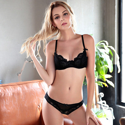 Sexy Lingerie Underwire Bra Sets Transparent Ultra-thin Lace Brassiere Panties Set Full of Temptation