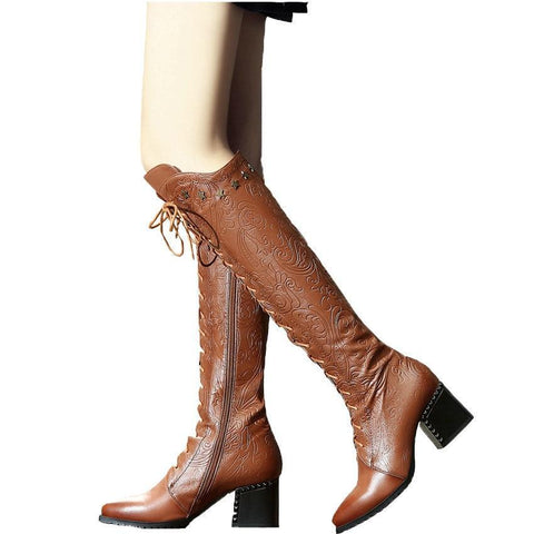 Over The Knee High Boots Cow Leather Lace Up Pointed Toe