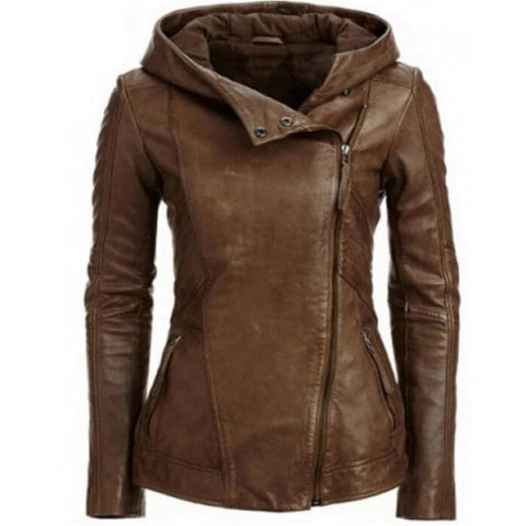 Faux Leather Hooded Vintage Biker Jacket
