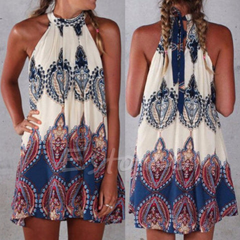 Boho Summer Beach Short Mini Dress