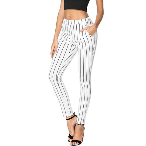Vertical Skinny Black and White Striped