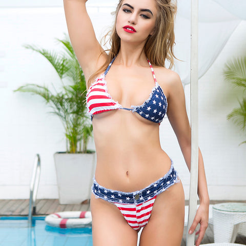 Sexy Adjustable Flag Jeans Bra Crop Top 4th July