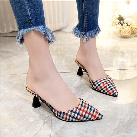 Sexy Pointed Toe Leather lattice Single Shoe