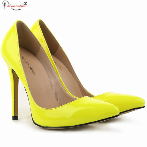 Elegant Brand Pumps Yellow Sexy Ladies High Heel Office Shoes