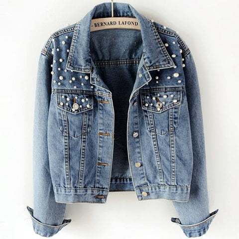 Spring Pearl Beading Ripped Denim Jacket