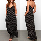 Spaghetti Strap Polka Dot Loose Maxi Dress