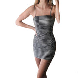 Sexy Dress Curto Slip Bodycon Pencil Plaid knitted Off Shoulder