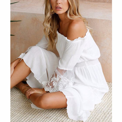 Summer Sundress Long Women White Beach Dress