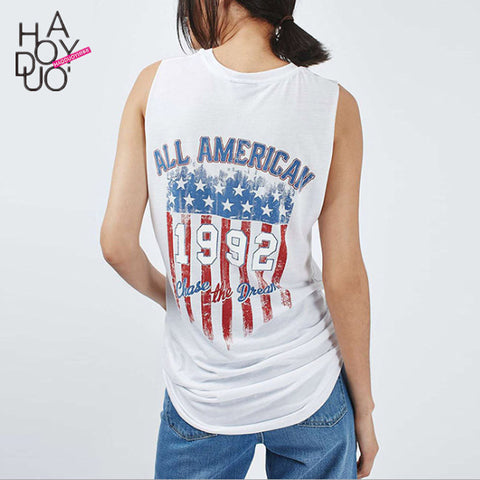 dcf328a098c 4th july American Flag Tank Top Sleeveless Loose White Street Punk Style