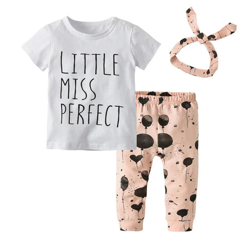 Baby Girl's  t-shirt + pants + headband toddler Baby Clothing