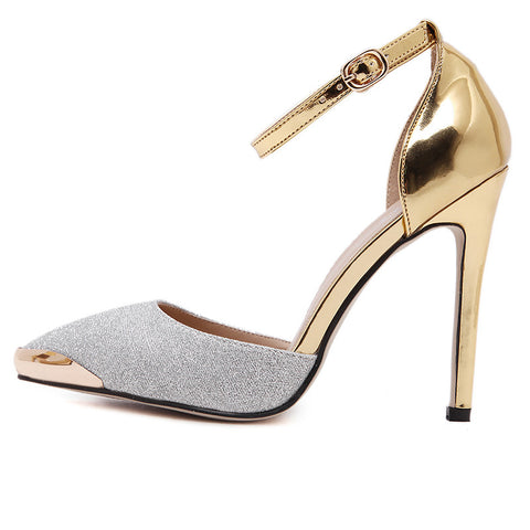 29453a17cc1 Sexy Glittery Leather Bright Metal Gold pointed Toe Pumps