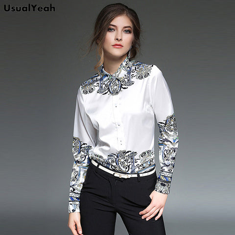 Fashion Blouse Long Sleeve Baroque Pattern Work Shirt