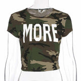 Camouflage Letter Short Sleeve T-Shirt