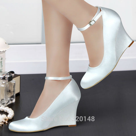 Ivory high heel ankle strap Wedge heels