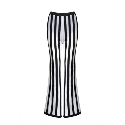 Women Casual Loose Pants Black & White Striped Full Length