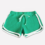 Shorts Contrast Binding Drawstring Waistband Side Split Elastic Waist