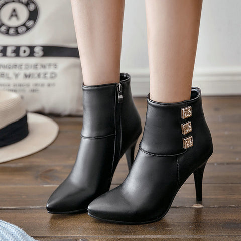 Thin High Heel Side Zipper Ankle Boots