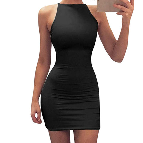 Sexy Bodycon Spaghetti Strap Round Neck Top