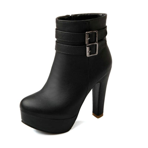 Faux Leather Comfortable Platform High Heel Ankle Boots