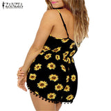Women Straps Sunflower Print Playsuit