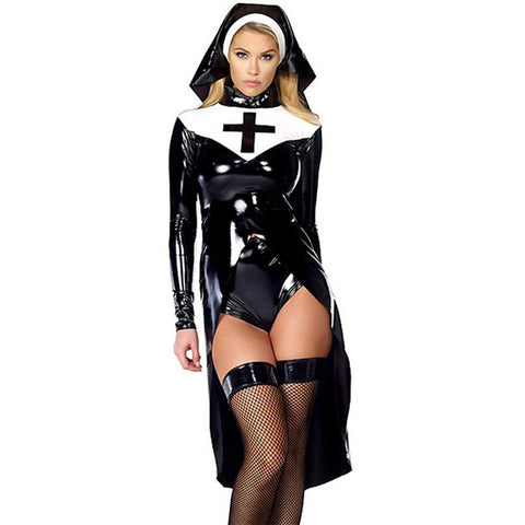 Sexy nun costume Vinyl Leather Halloween Costume