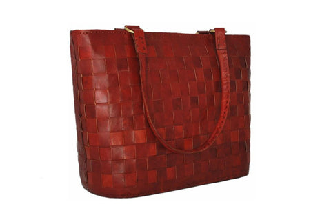 Women's Leather LARGE RED LEATHER TOTE - Mark's Urban Wear - 1