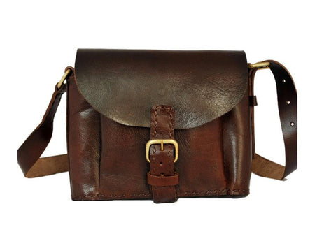 Women's Leather DARK BROWN LEATHER SLING BAG - Mark's Urban Wear - 1