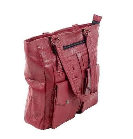Women's Leather RED LEATHER SHOULDER BAG - Mark's Urban Wear - 1