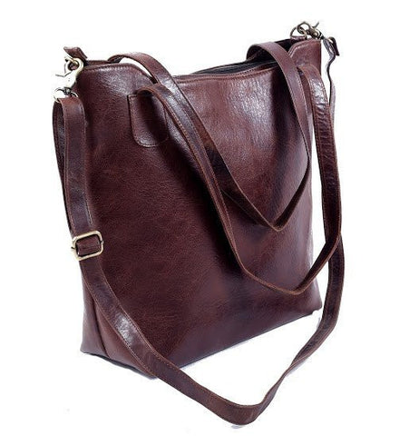 Women's Leather BROWN/BLACK COWHIDE LEATHER TOTE - Mark's Urban Wear - 1