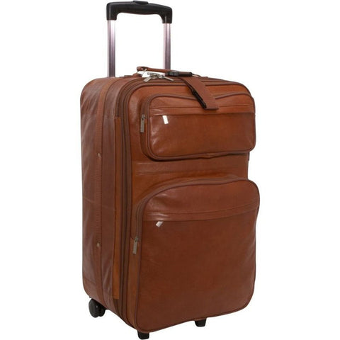 Traveling Leather BROWN LEATHER ROLLING SUITCASE - Mark's Urban Wear - 1