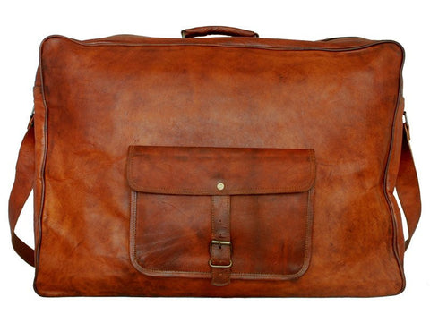 "Traveling Leather LARGE LEATHER SUITCASE 22"" - Mark's Urban Wear - 1"