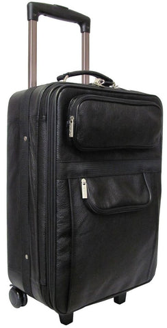 Traveling Leather BLACK LEATHER CARRY ON SUITCASE - Mark's Urban Wear - 1