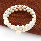 Bangle White Faux Pearl Rhinestone 3 Rows Stretch Elastic Bangle Bracelet