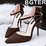 Mary Janes Suede Bowknot Pointed Toe High Heel