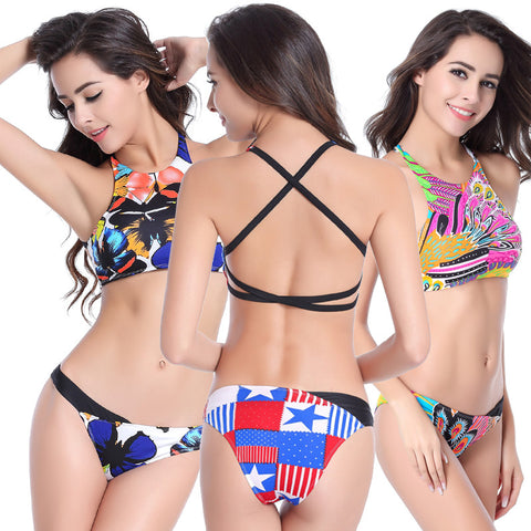 Ethnic Pattern Bandage Swimwear