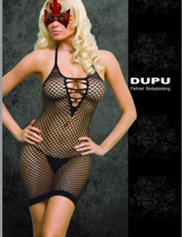 Babydoll Deep V Halter Fishnet Hollow Out Lingerie