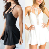 Backless Sleeveless High Waist Hollow Out Dresses Black White Dress