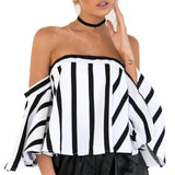 Striped Casual Off the Shoulder Short Sleeve Crop Top Shirt