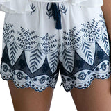 Beach Embroidery Bohemian High Quality Elastic High Waist Lace Shorts Casual White