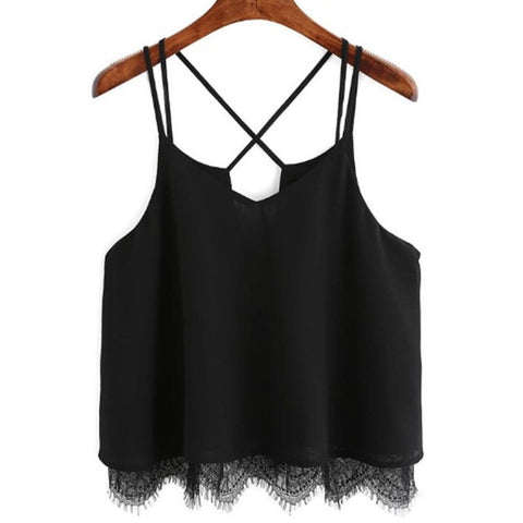 Chiffon White Cami Lace Vest Top Sleeveless Tank T-Shirt