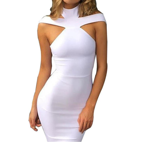 Sexy Bandage Sleeveless Sexy Halter Pencil Sheath