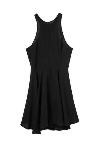 Black Dress Elegant Chiffon Sleeveless Slim Dress